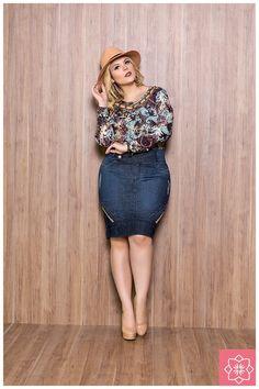 Saia Jeans Azul Nítido Jeans #viaevangelica #nitidojeans #modaevangelica #modafeminina