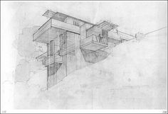 """""""Part of a collection of prefabricated houses designed for pre-war Los Angeles. Wright called the scheme """"All Steel Houses,"""" explains Wright archivist Bruce Brooks Pfeiffer,  """"proposing building one-hundred houses on a hillside location in Los Angeles. Each house has a unique design [based on its particular location and market demands], but the system of construction and all the detailing were standardized, thereby reducing the unit cost."""""""""""