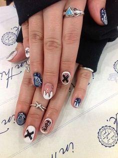 Nail Design Stiletto, Nail Design Glitter, Love Nails, How To Do Nails, Pretty Nails, Nail Art Cute, Mens Nails, Nailart, Gothic Nails