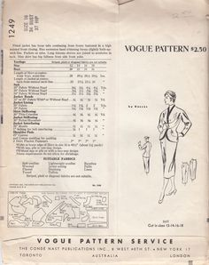 Vogue Original Model 1249 2 piece suit by Desses