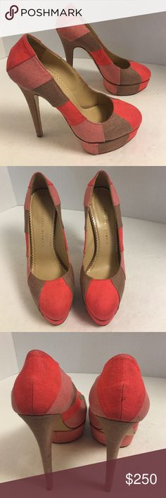 Charlotte Olympia coral Priscilla platform pumps Beautiful pair of authentic Charlotte Olympia Priscilla strap to platform pumps. Almond toe. One and a half inch platform. 5 1/2 inch covered heel.  Beautiful condition. Very light signs of wear. No box or dust bag. Charlotte Olympia Shoes Platforms