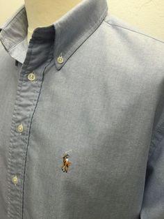 £38 Polo #RalphLauren #Mens #Yarmouth #Shirt Large Regular Fit Plain Blue #Oxford Cotton #menswear #mensfashion #mensstyle
