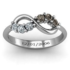 Split Infinity Ring | With our birthstones and wedding date <3