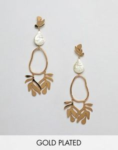 Vintage Jewelry ASOS DESIGN Gold plated earrings in abstrast leaf design with faux fresh water pearl - Shop ASOS DESIGN Gold plated earrings in abstrast leaf design with faux fresh water pearl at ASOS. 24k Gold Jewelry, Gold Jewellery Design, Gold Plated Earrings, Sterling Silver Jewelry, Silver Ring, Silver Earrings, Designer Jewelry, Gold Necklace, Jewellery Earrings