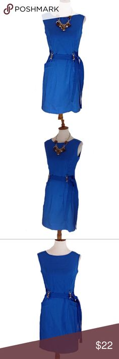 Ellen Tracy Dress Beautiful blue Ellen Tracy sleeveless dress. Belt hardware is gold with brown accents. Belt can be tied to the side, front or back of dress. Take this dress into the fall by adding a cardigan or jacket. See measurements in pic 8. Measurements are approximate with garment laying flat. Ellen Tracy Dresses Midi