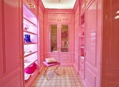 """Christopher Peacock's bubblegum pink """"Lady's Dressing Room"""" at the 2014 Kips Bay Designer House"""