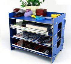 Menu Life Desk File Letter Trays DIY File Desk File Storage Cabinet Box Magazine Rack (Blue)
