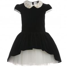 David Charles Black Velvet and Tulle Dress at Childrensalon.com