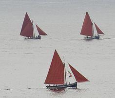 Galway hooker boat off Inis Meain (Inish Mann) Aran Islands Ireland