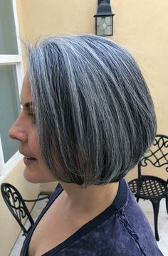 I didn't like all those layers. Went back to my stylist and cut my hair to the longest layer Grey White Hair, Grey Curly Hair, Silver Grey Hair, Hair Styles For Women Over 50, Short Hair Styles, Cut My Hair, Hair Cuts, Charcoal Hair, Silver Haired Beauties