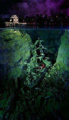 Ship wreck hidden beneath city docks