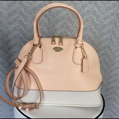 "NWT Coach Cora Dome Satchel Peach, Retail $375 New with tags Coach Cora dome satchel in ""Apricot/Chalk"", with gold hardware. Beautiful bag with Crossbody strap & shoulder handles Coach Bags Satchels"
