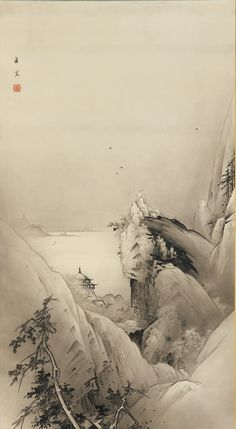 Landscape: high cliffs, water and a temple 19th century by Kano Hogai, (Japanese, 1828-1888)  Edo period, Ink on paper