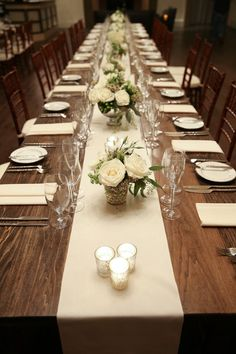 Clic Ivory Wedding Reception Decor Long Wood Tables With White Table Runners Mercury Gl