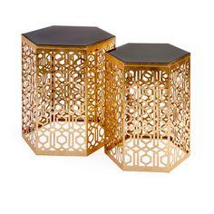 Nikki Chu Gold Lancaster Mirror Table, Set of Two