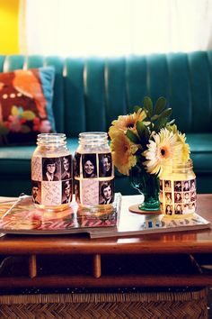 DIY:: Yearbook Votive ~    Print out a page of yearbook photo's and handwritten notes of yourself and classmates. Cut, and Modge Podge to class jars. Cover jars with pictures. Mod Podge again, add tea light and..Voila..instant Reunion or Graduation table decor,    From abeautifulmess.typepad.com/