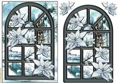 Christmas Window Ice Bleu on Craftsuprint designed by Marijke Kok - Beautiful christmas window with ice bleu poinsettias  - Now available for download!