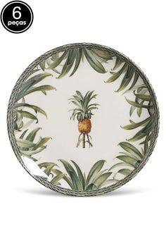 Conjunto 6Pçs Pratos Rasos Porto Brasil Coup Pineapple Branco/Verde Tropical Dinnerware, Pineapple, Decorative Plates, Table Settings, Tableware, Nature, Kitchen, Brazil, Wreaths
