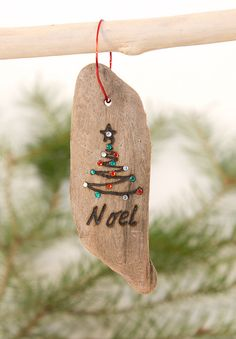 Noel Driftwood Bling Christmas Ornament  Wood by OnceUponAShore