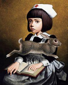 A Moment 2008 - Masaru Shichinohe Rabbit Drawing, Rabbit Art, Alice Rabbit, Rabbit Illustration, Mark Ryden, Magic Realism, Unusual Art, Arte Horror, Pop Surrealism