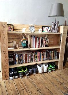 You can now check out this awesome pallet wood project which we have made to organize a number of things. We have used the first shelf to put decorative items. Second and third are made for the books. The last one is to store shoes.