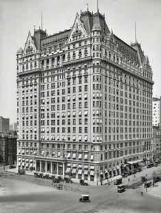 "New York circa 1912. ""Plaza Hotel, Fifth Avenue at 59th Street."" The original ""big box."""