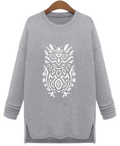 Casual Jewel Neck Long Sleeve Printed Slit Pullover Sweatshirt For Women