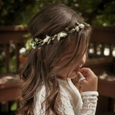 This is truly a simple and dainty flower crown. This flower girl headband is adjustable and will also fit up to adult size so your little princess can get a lot of wear out of it. It has small rosebud Vintage Ball Gowns, Vintage Evening Gowns, Vintage Dresses, Evening Dresses, Long Sleeve Lace Gown, Sheer Lace Dress, Princess Line, Vintage Princess, Lace Flower Girls