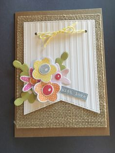 Mother's Day card, fishtail banner, MFT stitched flowers, burlap card