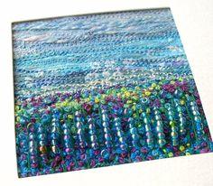 Embroidered fabric landscape   fibre art card   by StitchMikki
