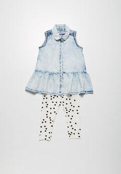 Spotty denim shirt & leggings set - denim & AOP MINOTI Sets | Superbalist.com Denim Top, Denim Shirt, Jeans, I Love Makeup, Leggings, Rompers, Summer Dresses, Beauty, Kids