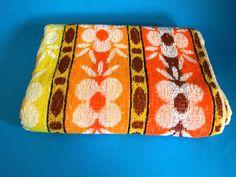 Palm Beach Psychedelic Flower Power Beach Towel - Vintage Retro Orange Yellow Bath Sheet - Groovy - Made in Australia - Brand New!