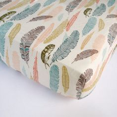 Feather Baby Bedding - Plume Fitted Crib Sheets / Changing Pad Covers or Standard and Mini Crib Sheets / Etsy Nursery Bedding