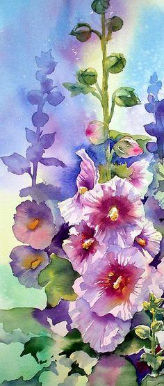 Summertime Hollyhocks by Ann Mortimer, a watercolour artist based in Nottingham, UK.