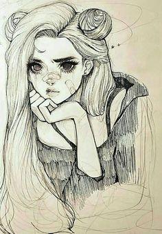 a sketch of a girl w long hair drawings art - Art drawings Girl Hair sketch wlong # Doodle Drawing, Girl Drawing Sketches, Hair Drawings, Sketches Of Girls, Pencil Drawings, Drawing Style, Pencil Art, Cute Drawings Of Girls, Artwork Drawings