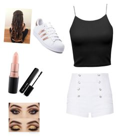 """""""Untitled #43"""" by mkelly5 ❤ liked on Polyvore featuring Pierre Balmain, adidas, MAC Cosmetics and Marc Jacobs"""