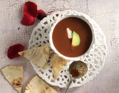 Spicy Tomato and Chocolate Soup by Greek chef Akis Petretzikis. A unique recipe for those with a delicate palate to enjoy the the aromas of chocolate and spices Unique Recipes, Raw Food Recipes, Soup Recipes, Dairy Free Diet, Nutrition Chart, Veggie Soup, Alphabet Soup, Good Fats, Spicy