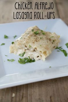 Quick and easy dinner recipe for Chicken Alfredo Lasagna Rollups ~ part of our 31 Days of Rotisserie Chicken Recipes Series on 5DollarDinners.com