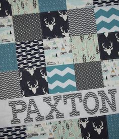 Personalized Baby Quilt-Baby Quilt Boy-Modern Baby Quilt-Woodland Quilt-Deer Head Quilt-Baby Name Quilt-Personalized Baby Quilt Etsy