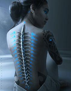 Cyberpunk, Futuristic, Cyborg female blue lights down spine May 2015