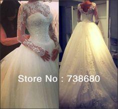 2014 Hot sale new arrivals long sleeve wedding dress puffy ball gown US $239.88