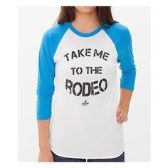 Ali Dee Collection Rodeo T-Shirt ($16) ❤ liked on Polyvore featuring tops, t-shirts, shirts, tee-shirt, raglan sleeve t shirt, graphic print t shirts, distressed shirt and torn t shirt
