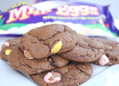 Cadbury Mini Egg Cookies - Crazy Little Projects: a special surprise for Chris perhaps? He loves his mini eggs :)