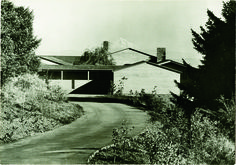 The black and white image captured the roof angles perfectly mirroring Mt. Hood.