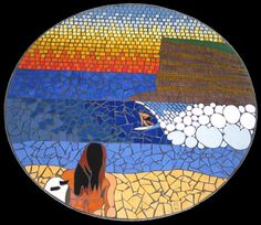 Mosaic table depicting dawn on Moffat Beach with a surfer riding a wave created in ceramic tiles by Brett Campbell Mosaics