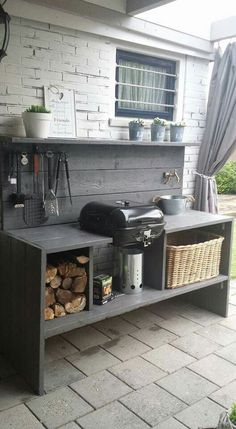 outdoor grill area on a budget . outdoor grill area diy on a budget . outdoor grill area with bar . outdoor grill area on deck Modern Outdoor Kitchen, Outdoor Kitchen Bars, Modern Kitchen Design, Rustic Outdoor Kitchens, Outdoor Bars, Patio Kitchen, Island Kitchen, Open Kitchen, Outdoor Grill Area