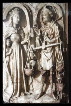 Iustitia III  An interesting  Medieval alabaster depiction of St. Michael and the Virgen Mary,which is housed in the chapelof Pembroke College,Cambridge.