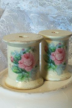shabby chic vintage wooden spools