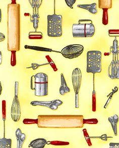 Kitchen - utensils on yellow