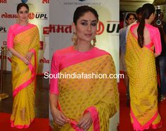 Kareena Kapoor at Lokmat Awards yellow saree pink blouse Blouse Designs High Neck, Sari Blouse Designs, High Neck Saree Blouse, Traditional Blouse Designs, South Silk Sarees, Saree Hairstyles, Yellow Saree, Saree Look, Indian Designer Outfits